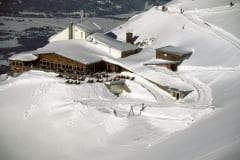 Snowy Karwendel cable car mountain station